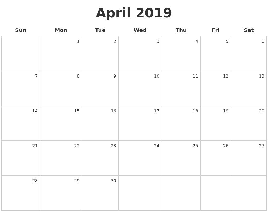 april 2019 make a calendar