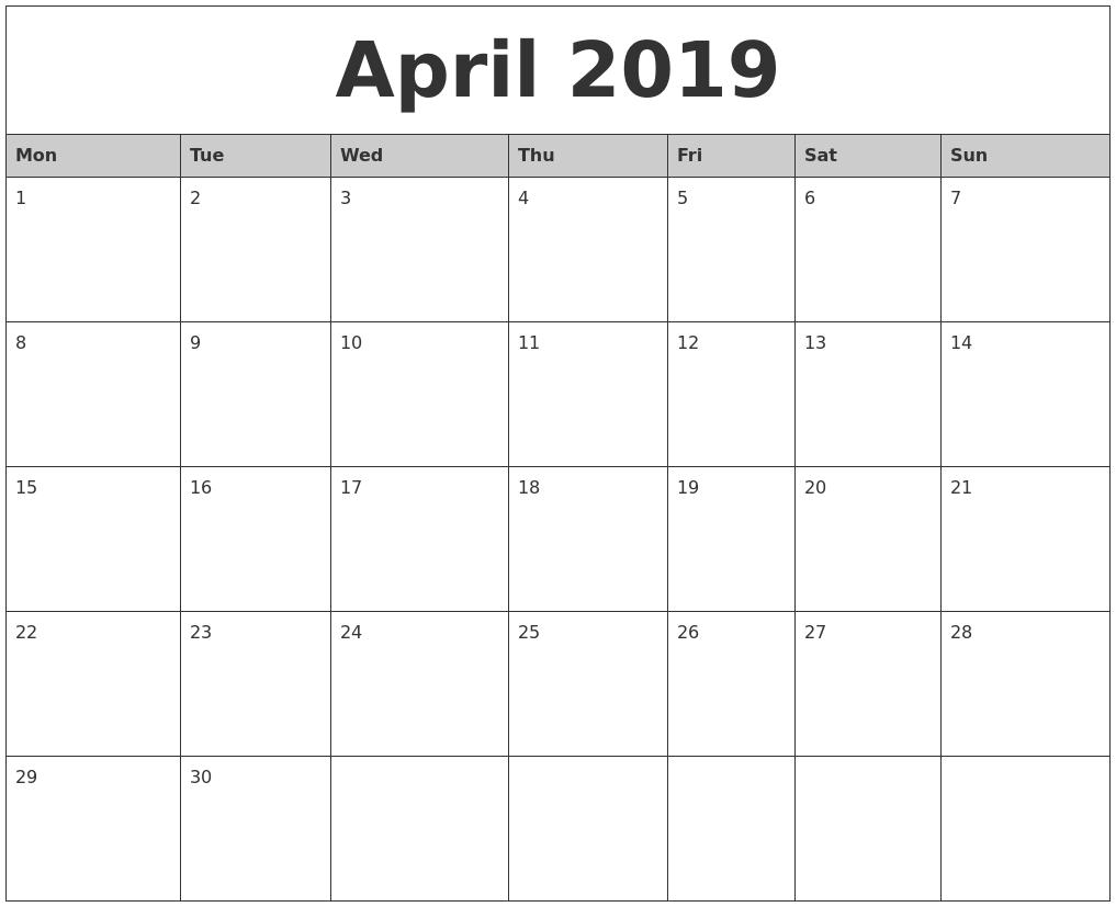 April 2019 Monthly Calendar Printable