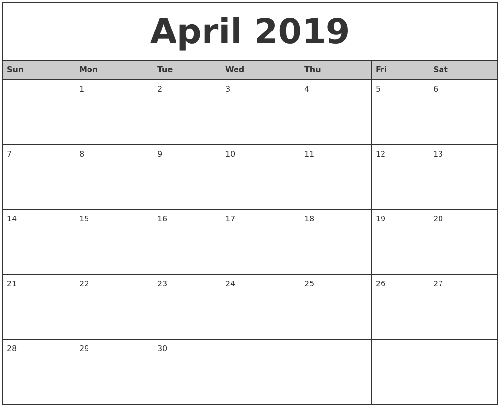 April 2019 Monthly Calendar Printable