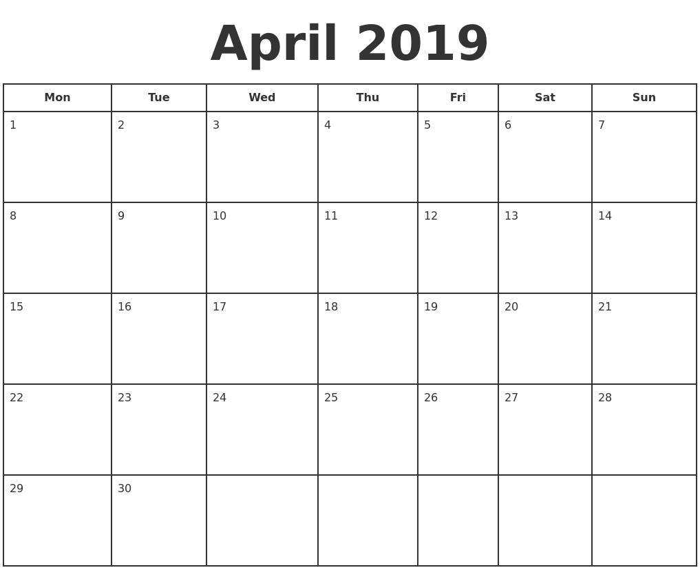 april 2019 print a calendar