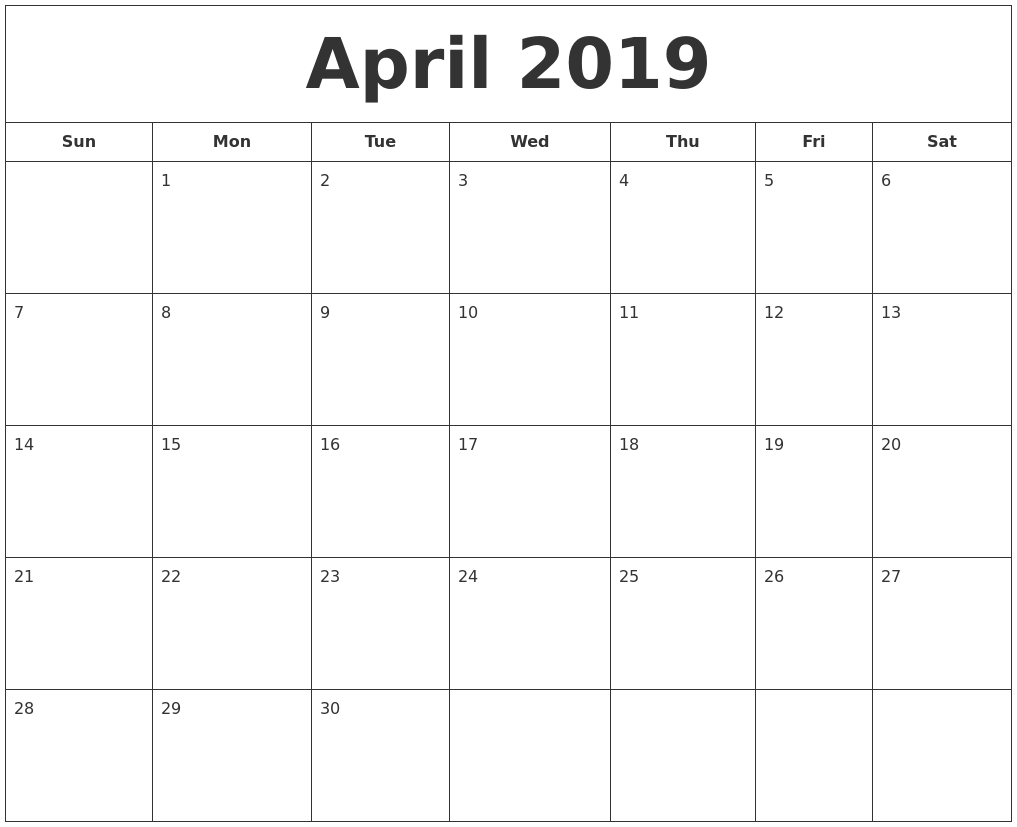 graphic relating to April Printable named April 2019 Printable Calendar
