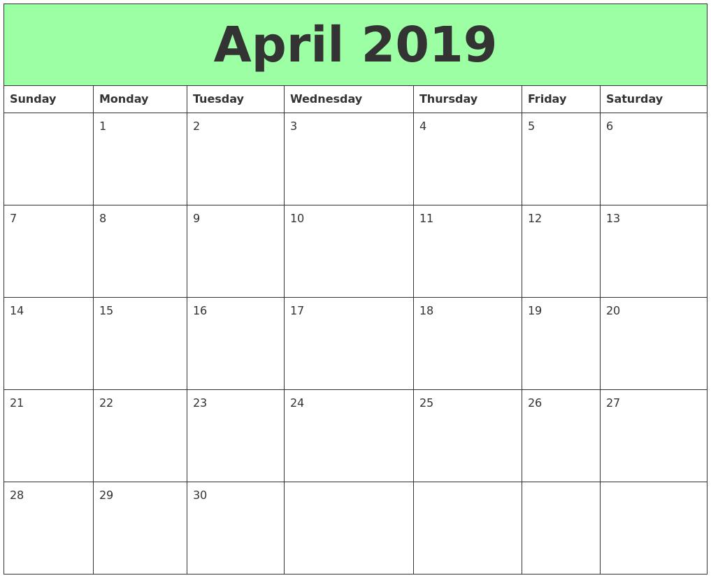 april 2019 printable calendars