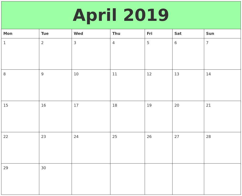 graphic about Printable April named April 2019 Printable Calendars