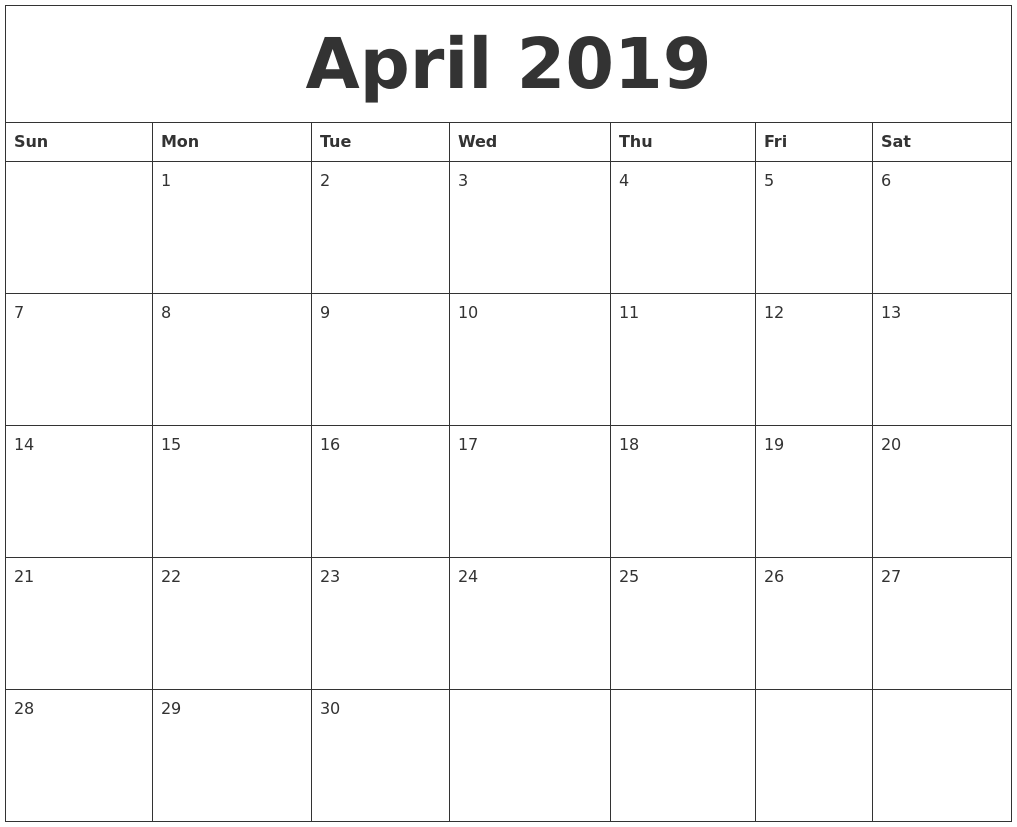 photograph regarding Daily Calendar Printable named April 2019 Printable Each day Calendar