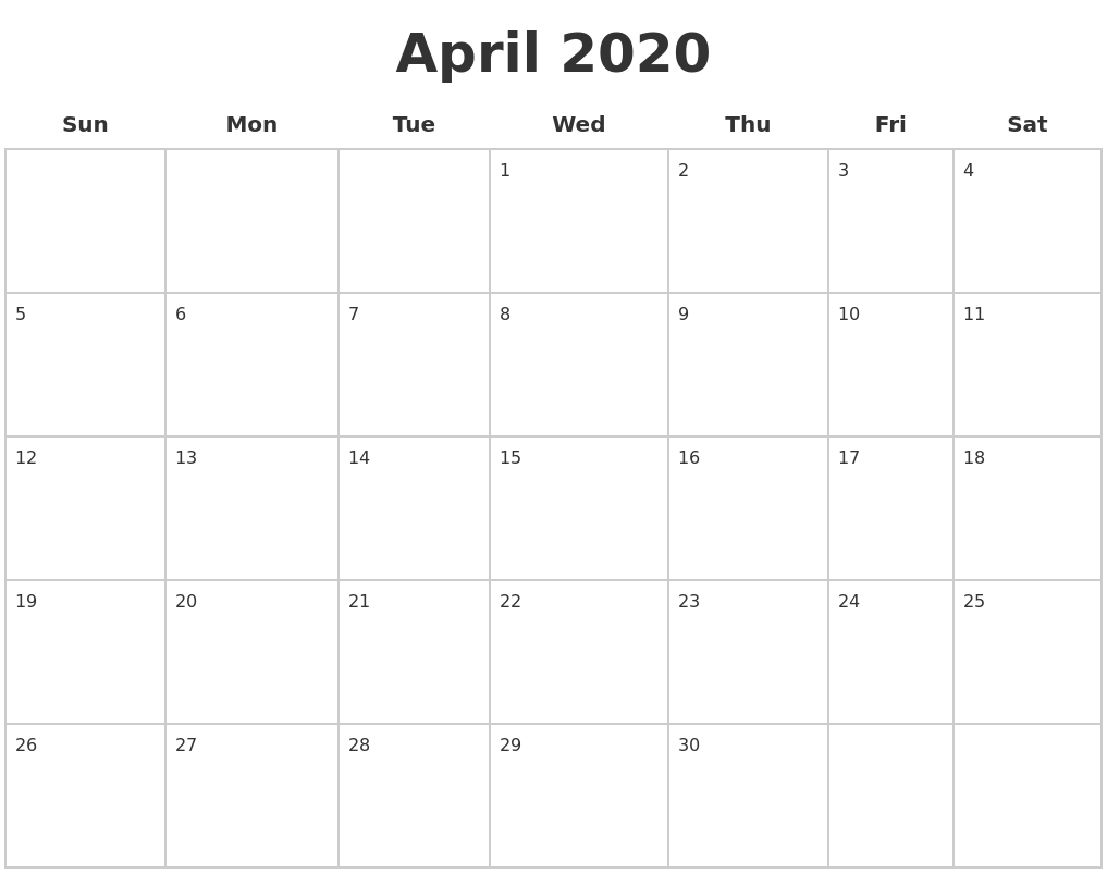April 2020 Blank Calendar Pages