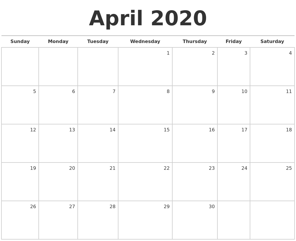 April 2020 Blank Monthly Calendar
