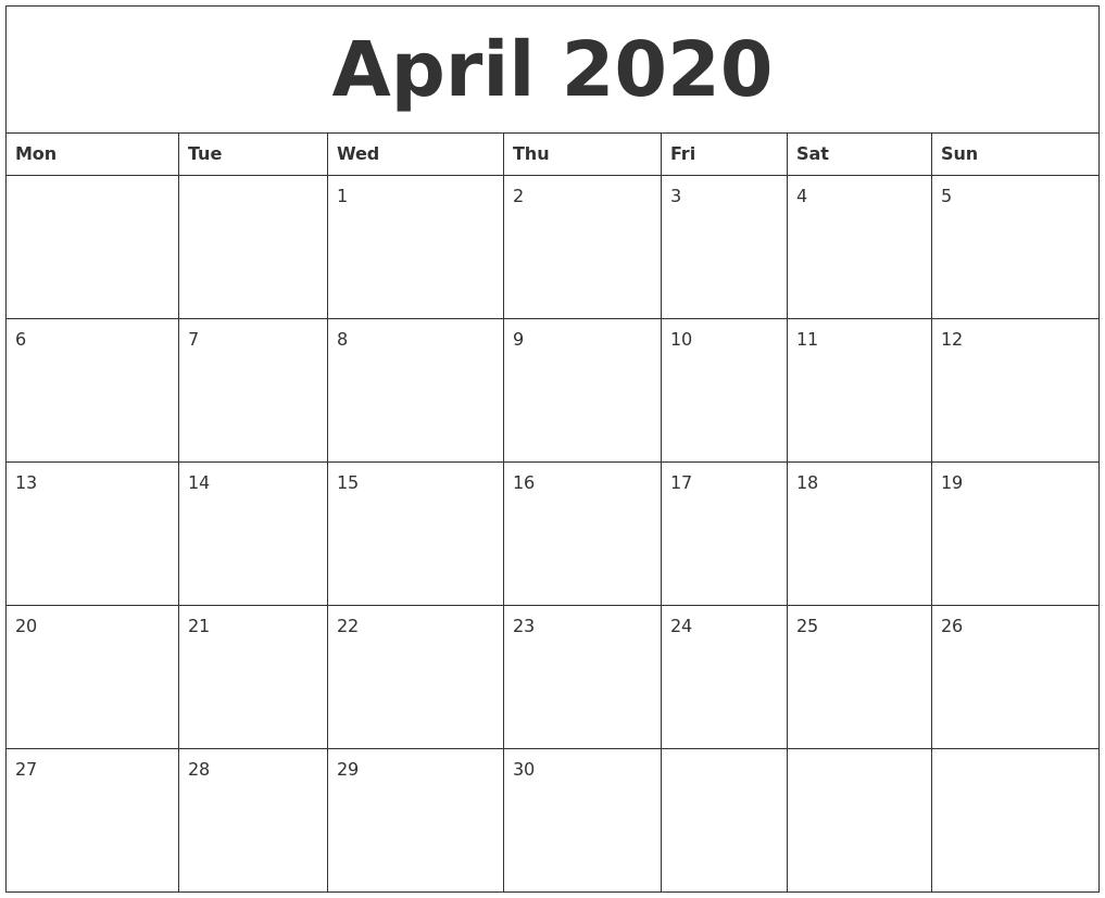 april 2020 blank monthly calendar template