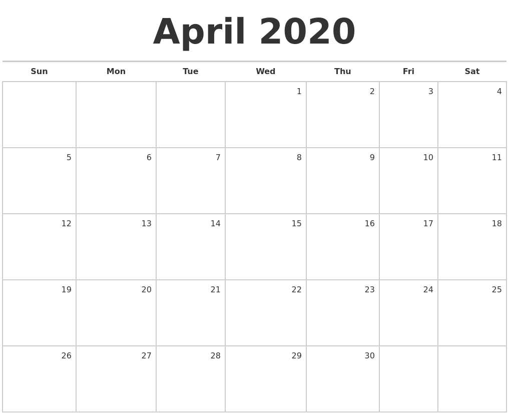 April 2020 Blank Monthly Calendar