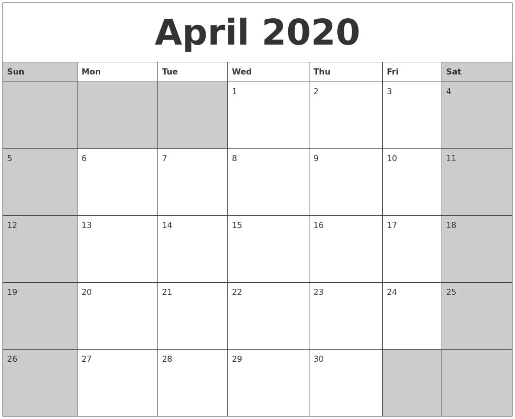 april 2020 calanders