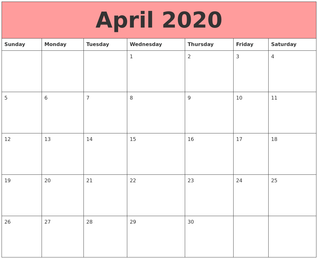 It's just a graphic of Breathtaking April 2020 Printable