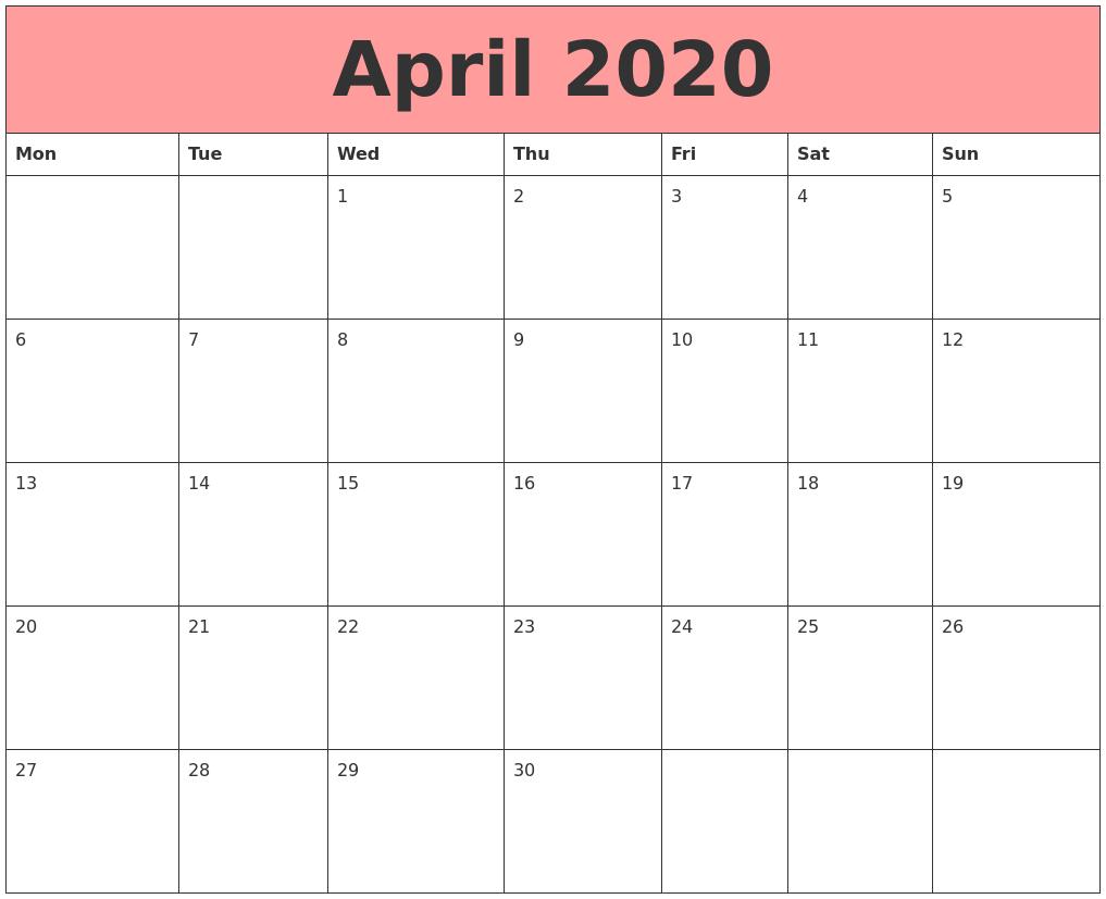 April 2020 Calendars That Work