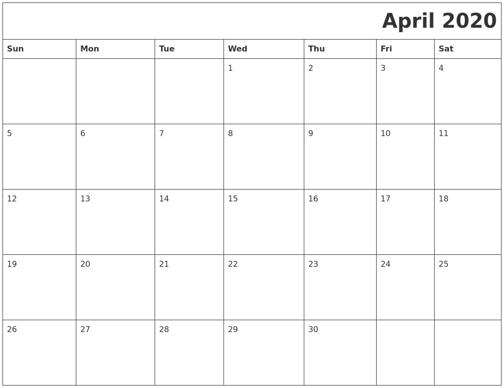 April 2020 Download Calendar