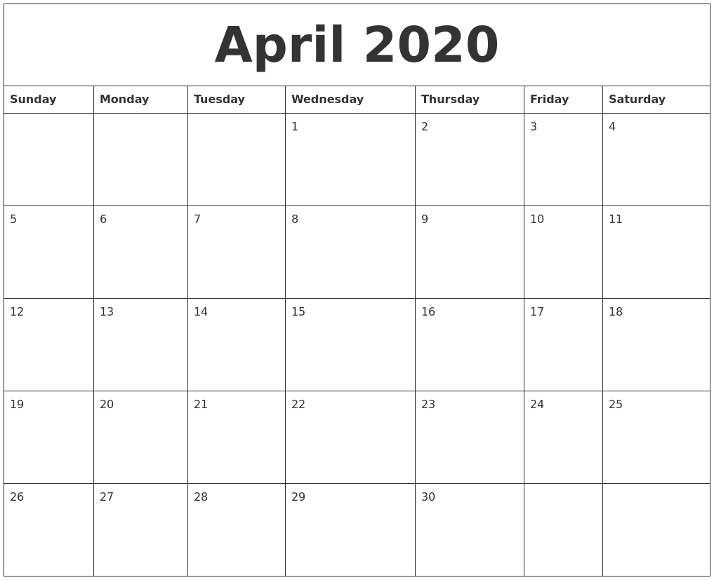 April Calendar Template from www.calendarzoom.com