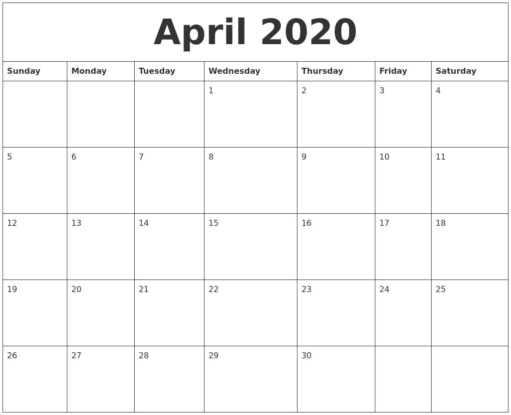 April 2020 Free Calendar Printable