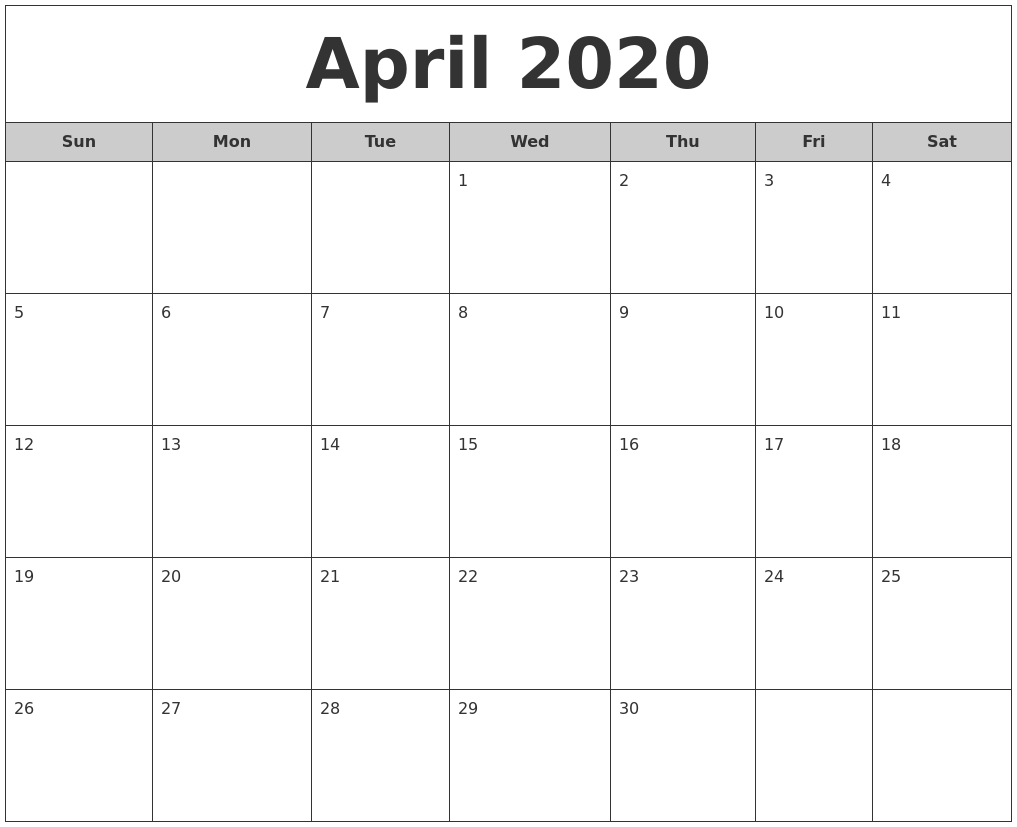 April 2020 Free Monthly Calendar
