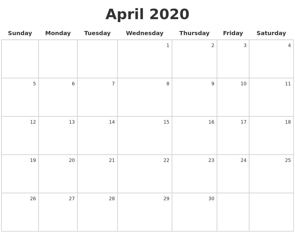 April 2020 Make A Calendar