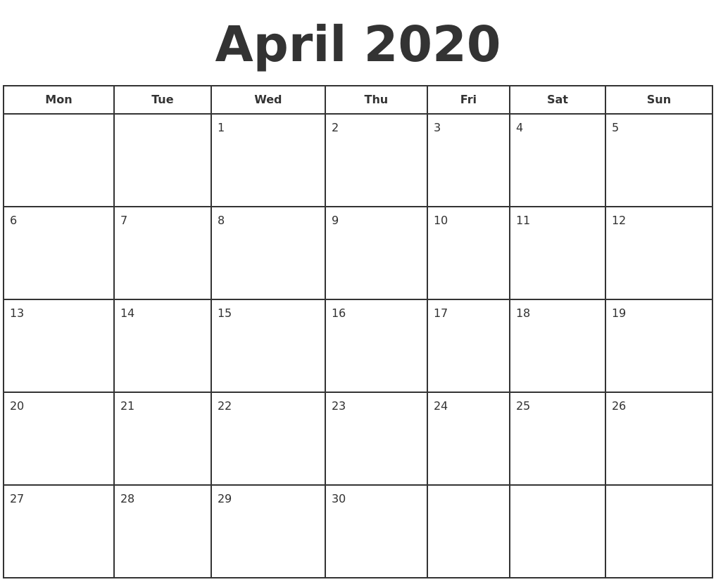It's just a graphic of Dynamic April 2020 Printable