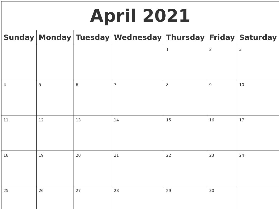 April 2021 Calendar Blank April 2021 Blank Calendar
