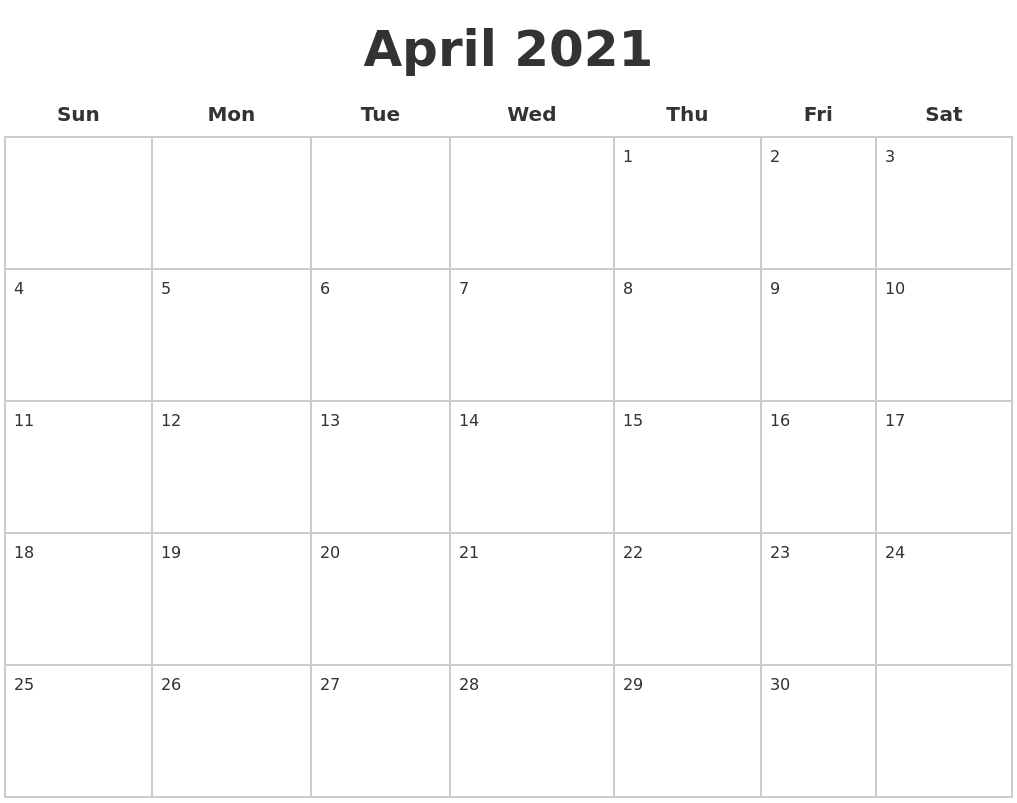 April 2021 Blank Calendar Pages