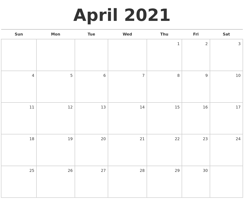 April 2021 Blank Monthly Calendar