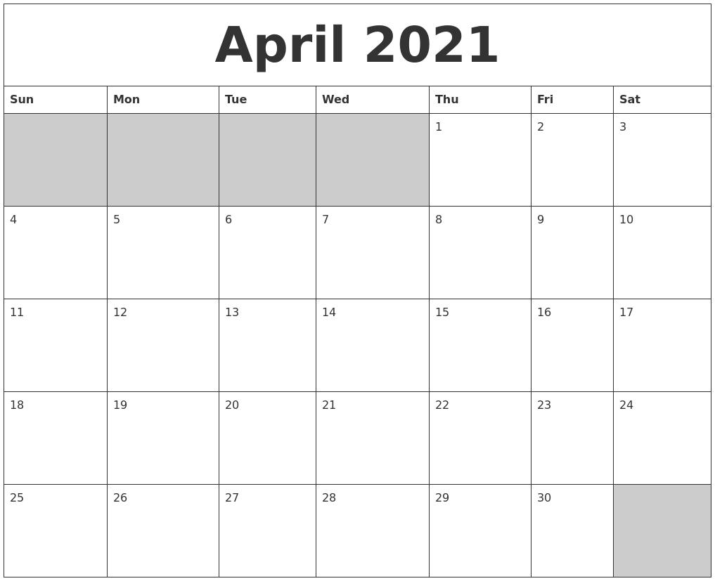 April 2021 Blank Printable Calendar