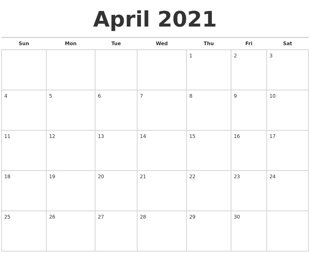September 2021 Calendar Maker