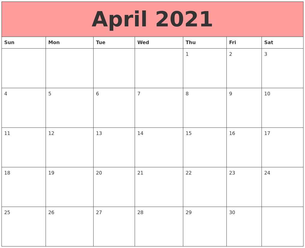 April 2021 Calendars That Work