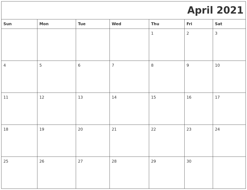 April 2021 Download Calendar