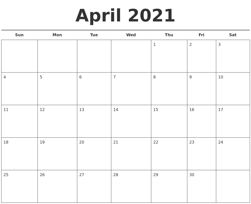 July 2021 Monthly Calendar Template