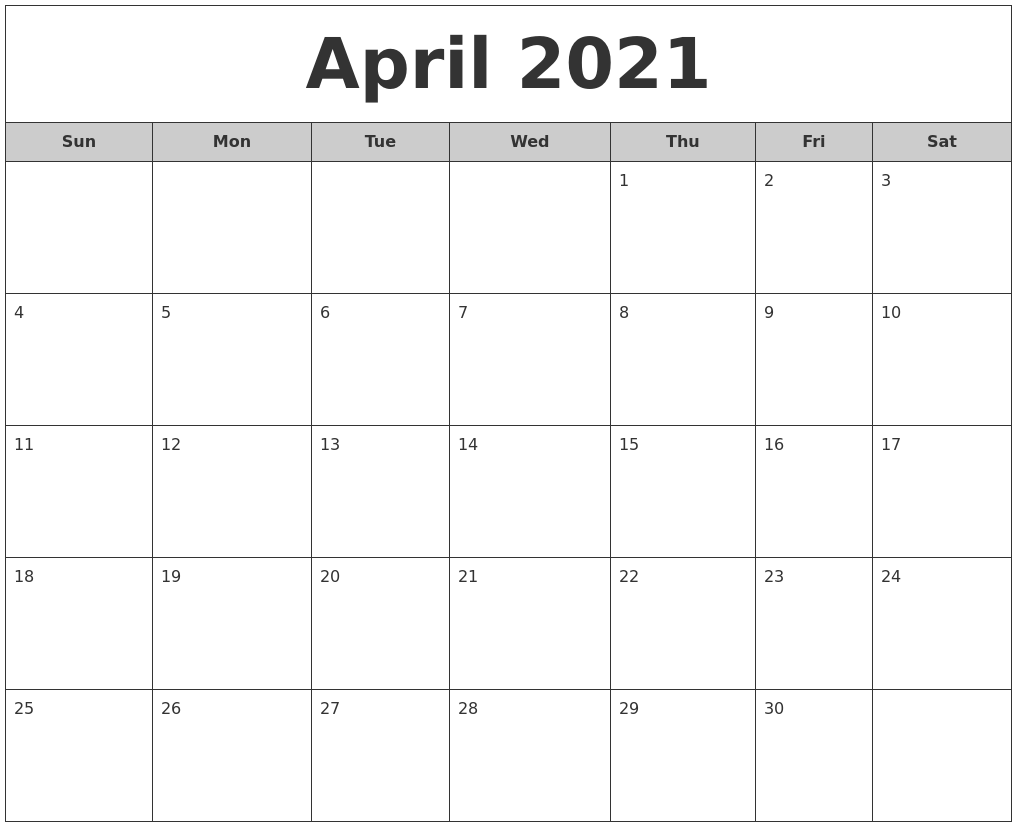 April 2021 Free Monthly Calendar