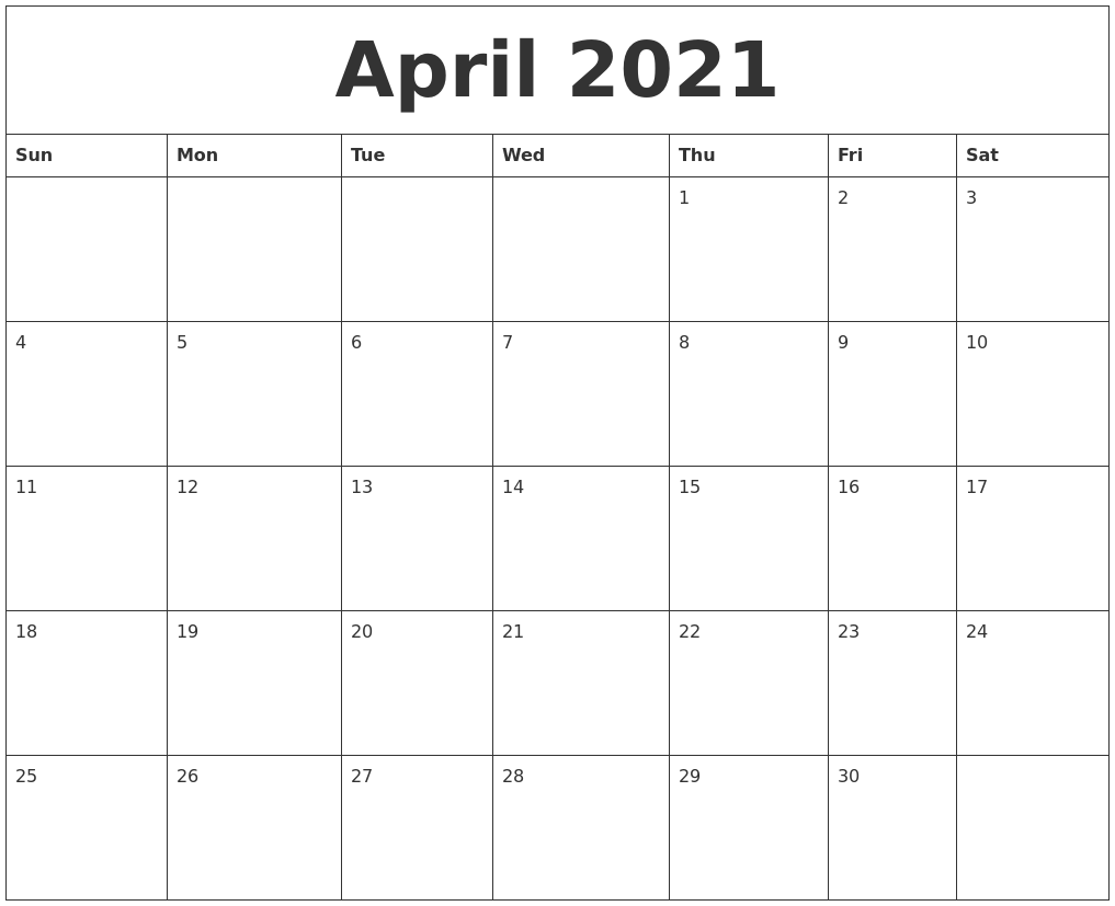 April 2021 Free Printable Monthly Calendar
