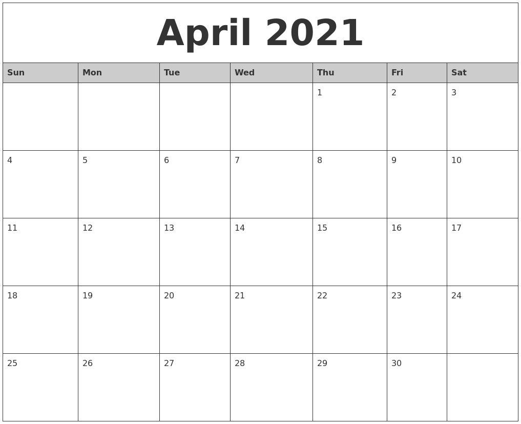 April 2021 Monthly Calendar Printable