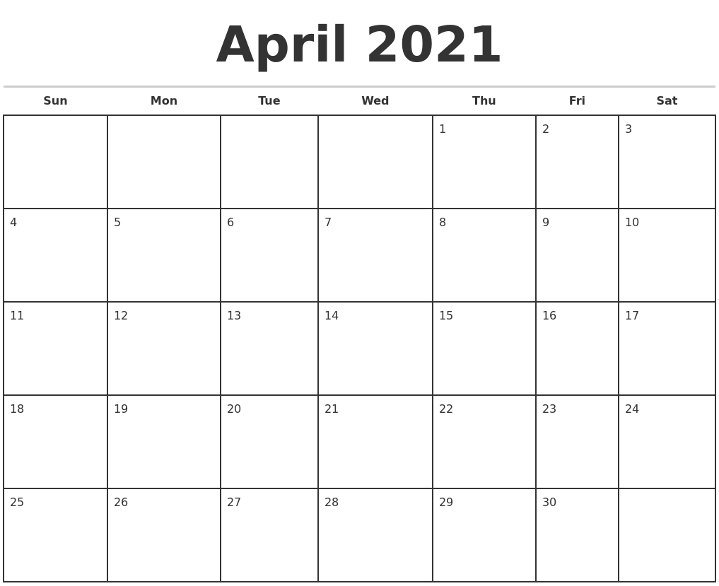 April 2021 Monthly Calendar Template
