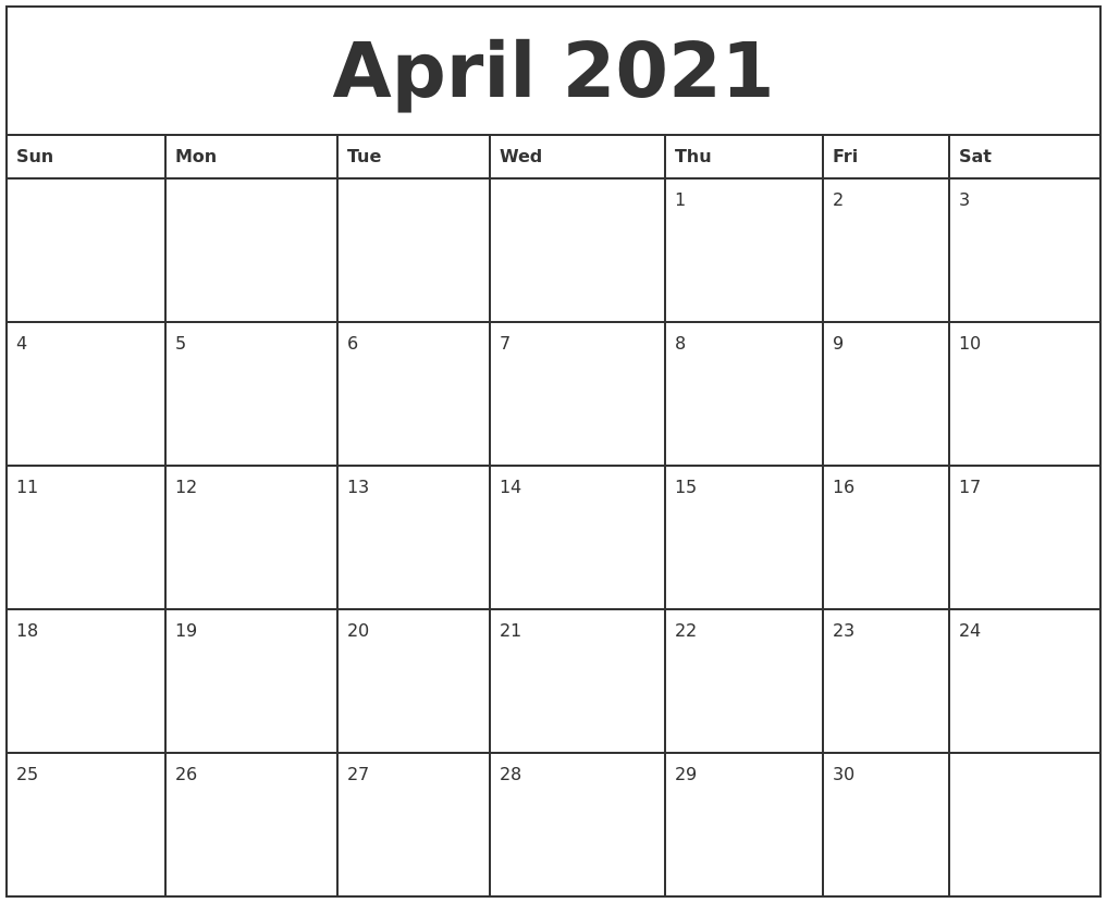 April 2021 Printable Monthly Calendar