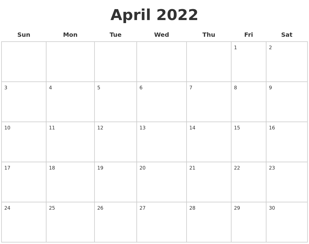 April 2022 Blank Calendar Pages