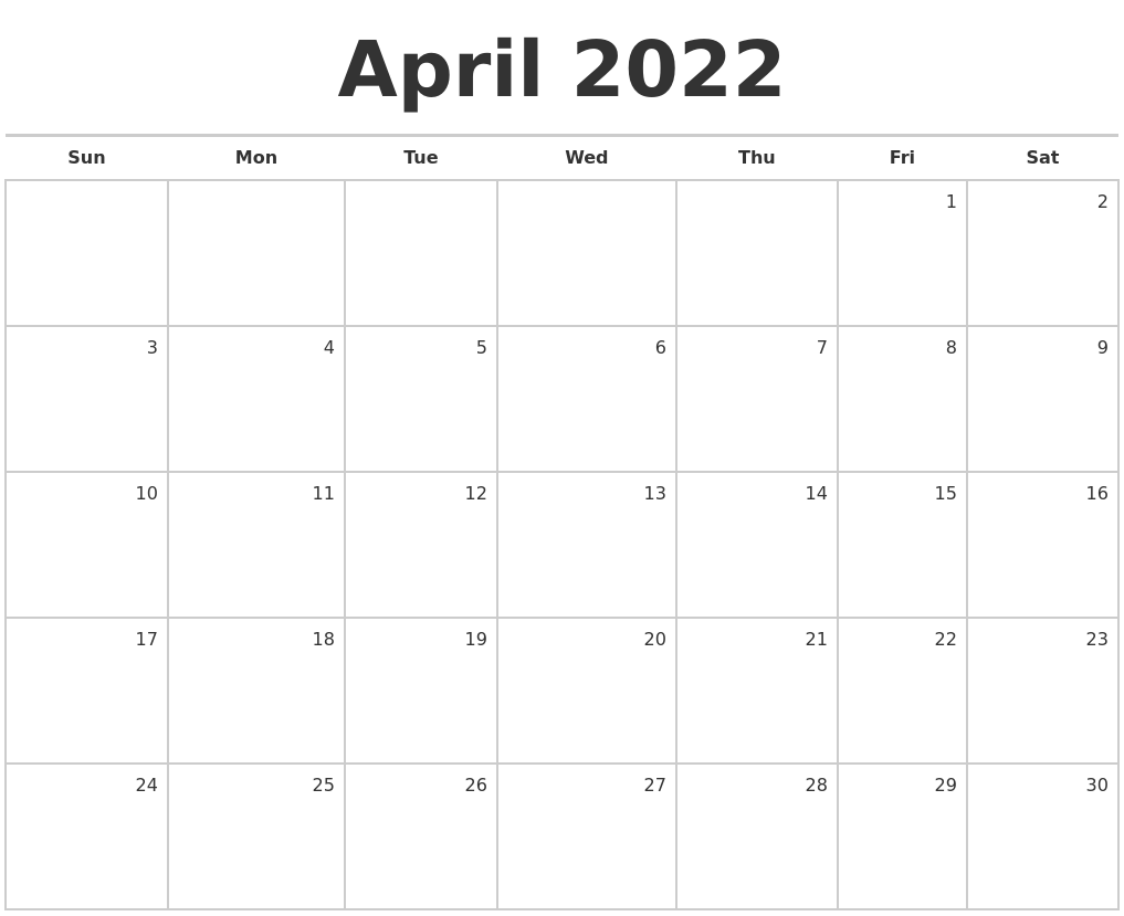 April 2022 Blank Monthly Calendar