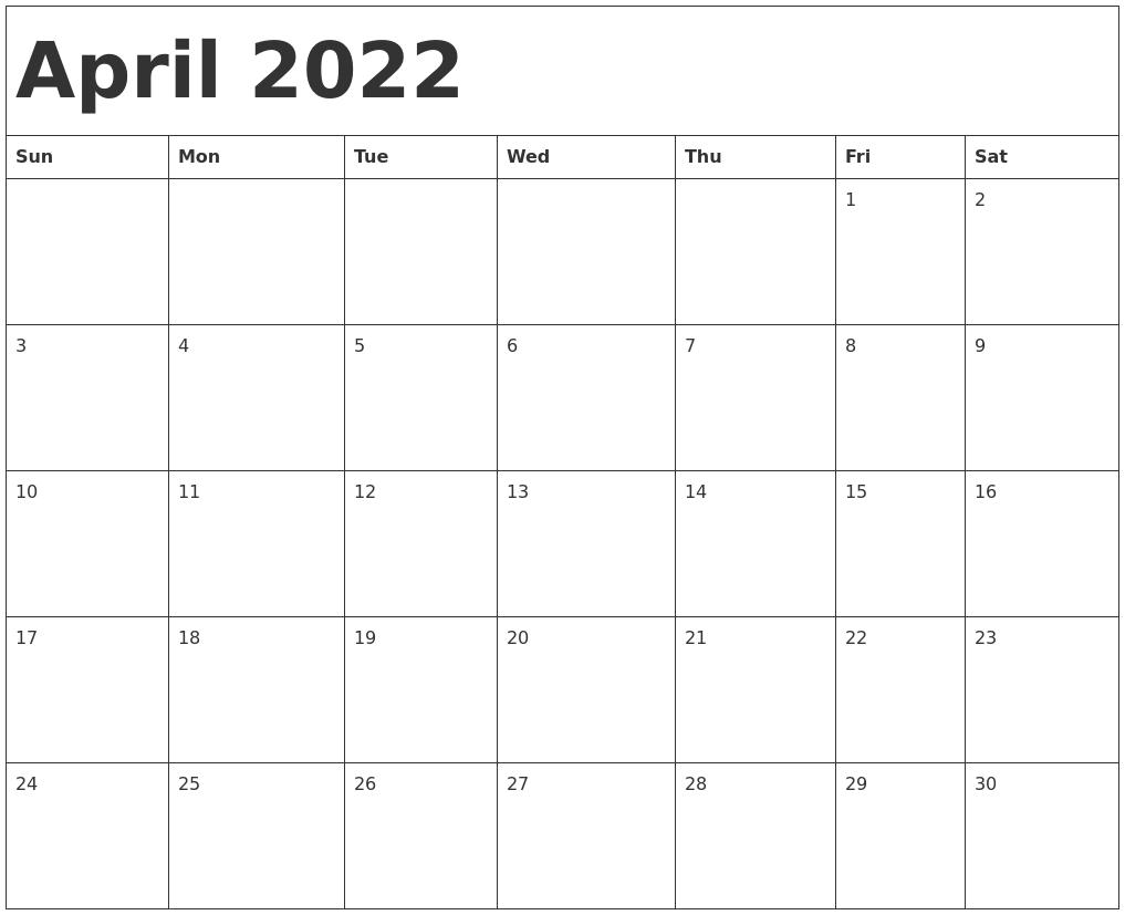 April 2022 Calendar Printable.April 2022 Calendar Template