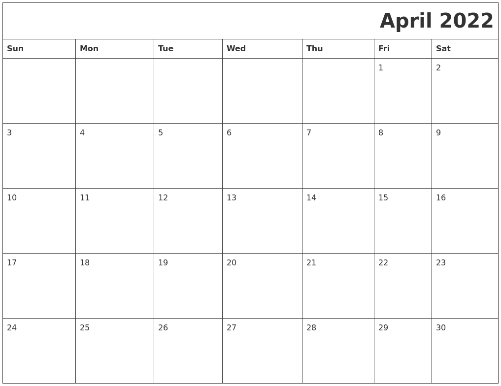 April 2022 Download Calendar