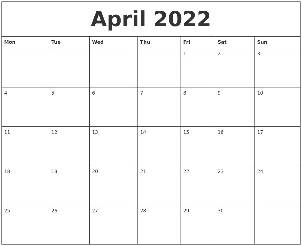 April 2022 Free Blank Calendar Template