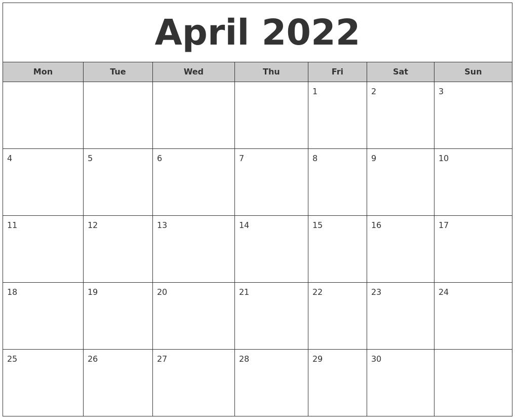 Monthly Calendar Monday Start : April free monthly calendar