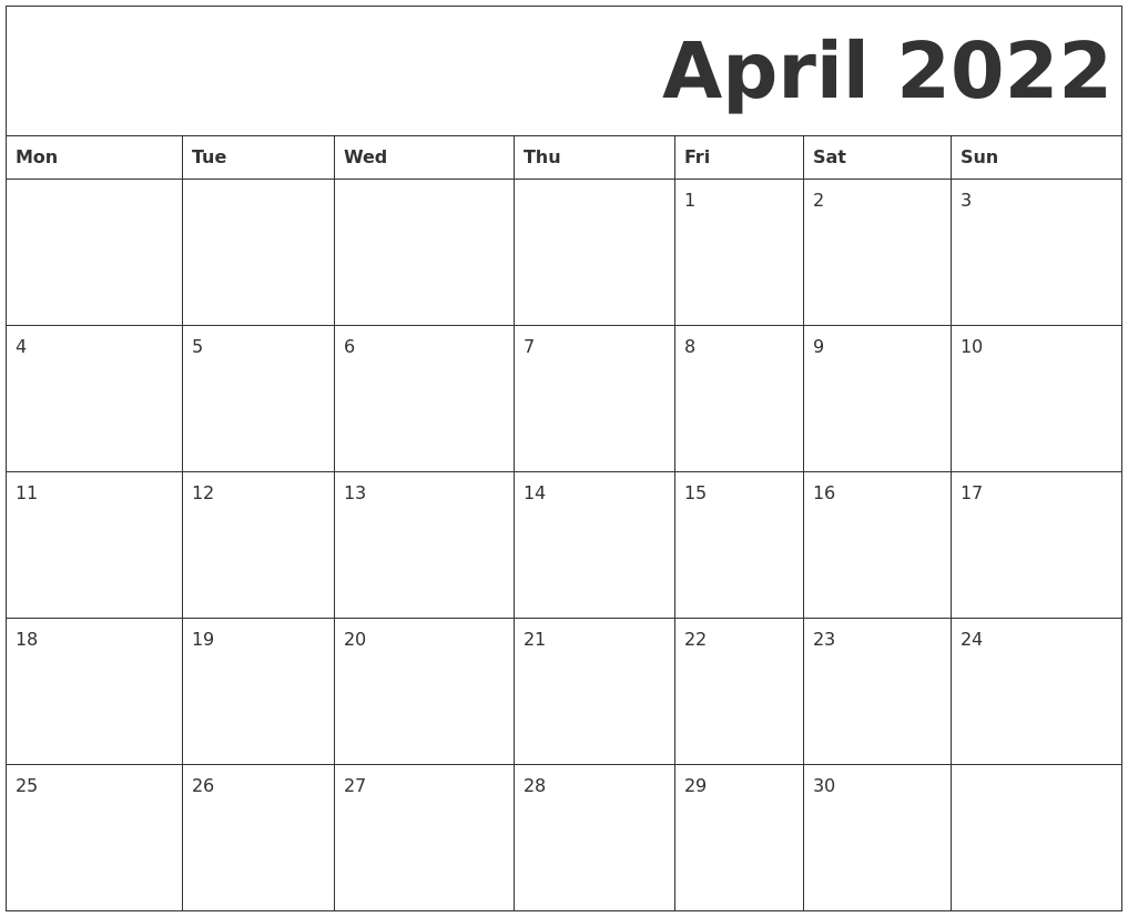 April 2022 Calendar Printable.April 2022 Free Printable Calendar