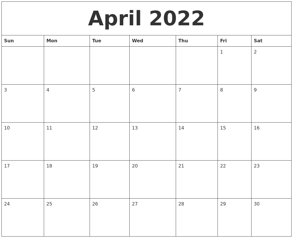 April 2022 Free Printable Monthly Calendar