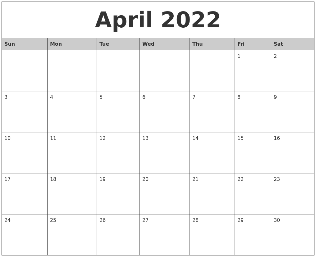 April 2022 Monthly Calendar Printable