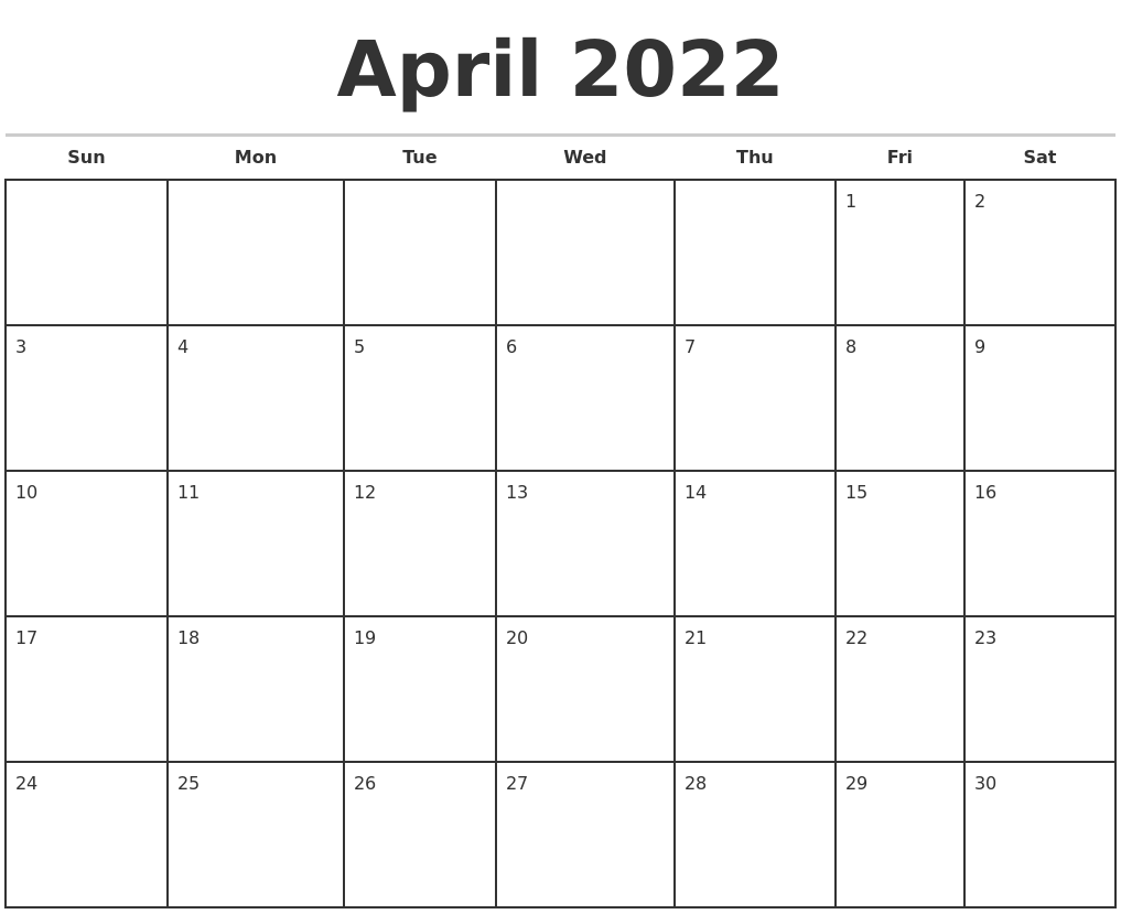 April 2022 Monthly Calendar Template