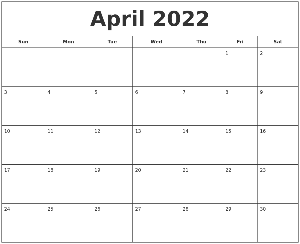 April 2022 Calendar Printable.April 2022 Printable Calendar