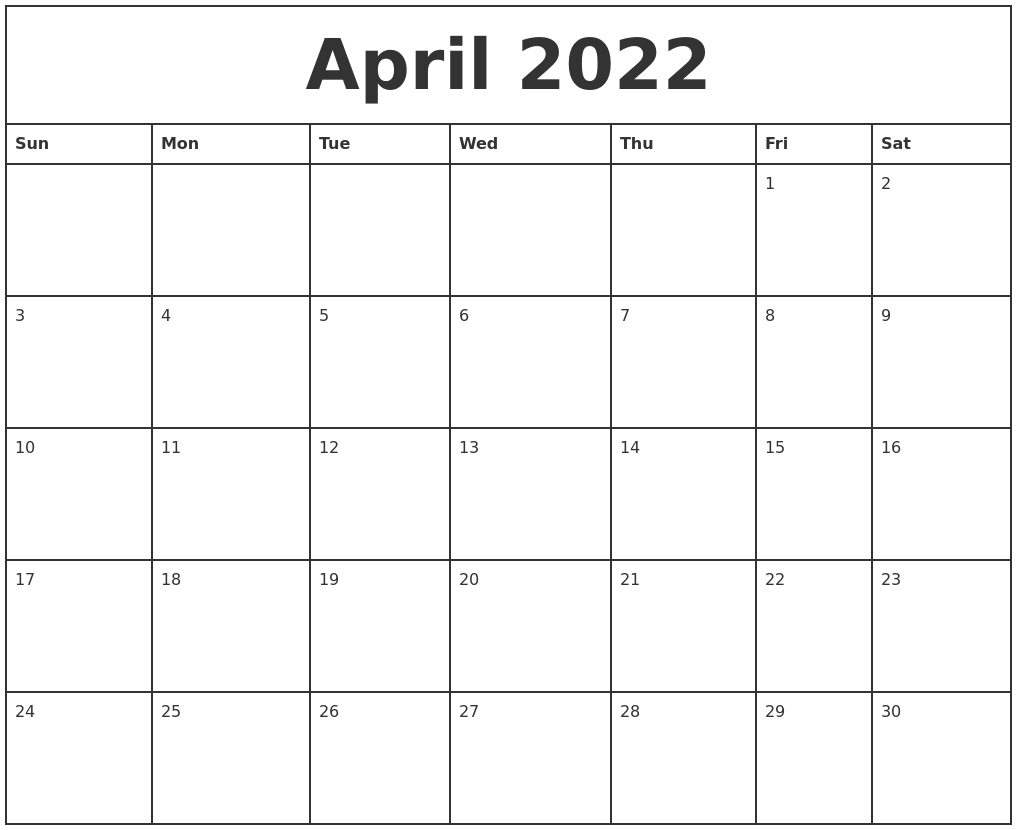 April 2022 Printable Monthly Calendar