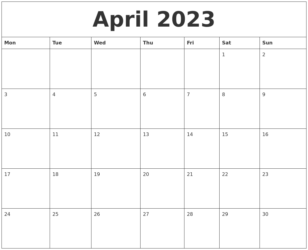 April 2023 Blank Monthly Calendar Template
