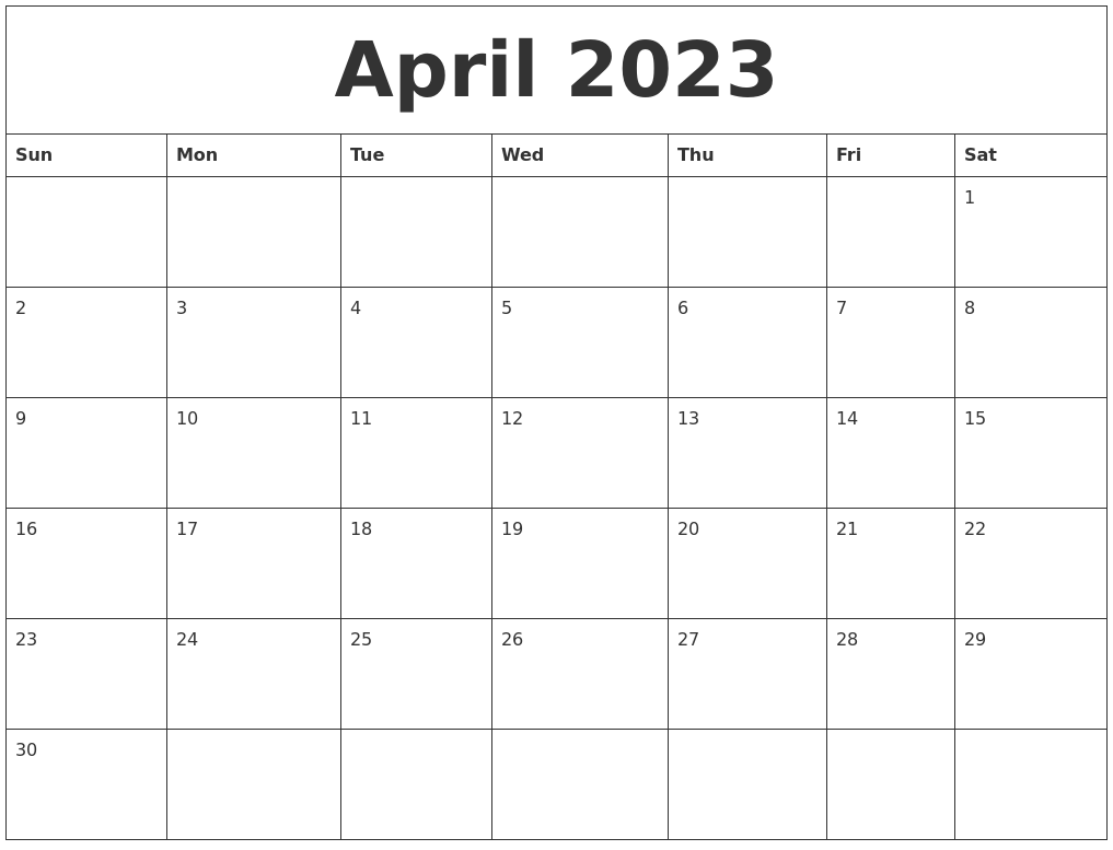 April 2023 Calendar Pages