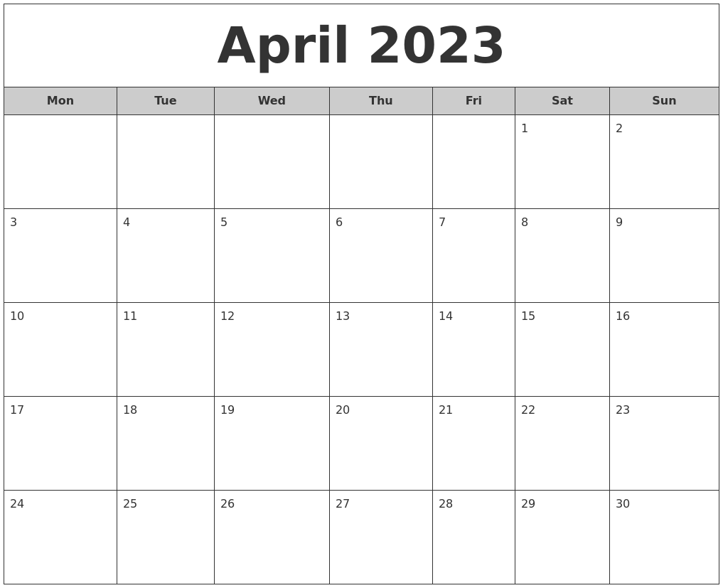 April 2023 Free Monthly Calendar