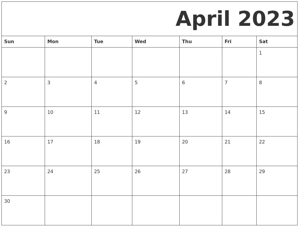 April 2023 Free Printable Calendar